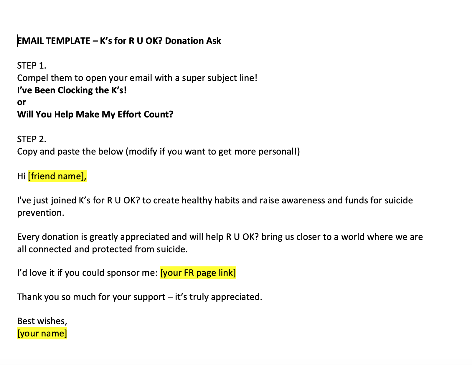 Email Template - Donation Ask